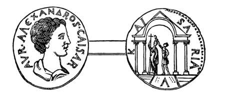 The Goddess Astarte was engraved on the Medal of Gaza, vintage line drawing or engraving illustration.