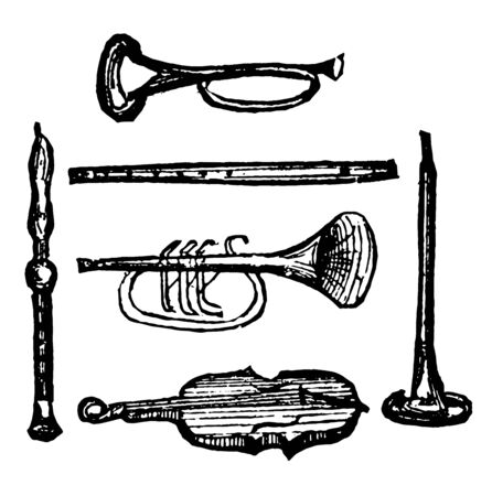 Instruments Contrivances by which musical sounds are produced, vintage line drawing or engraving illustration.