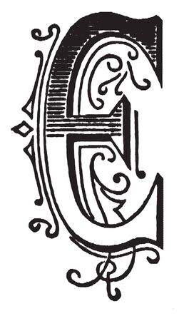 An ornamental and decorative letter O, vintage line drawing or engraving illustration