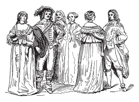 This image represents Nobility from the Time of Charles I, vintage line drawing or engraving illustration. Иллюстрация