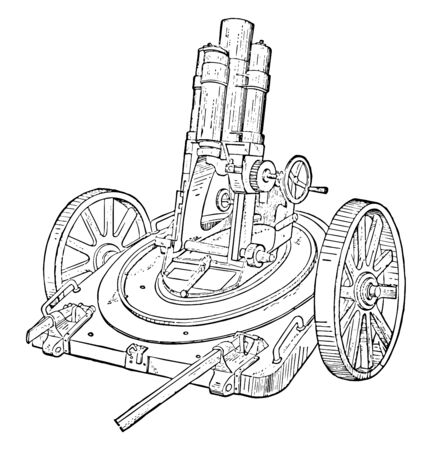 Rifled Light Minenwerfer Mortar series of gears adjusts the angle of the barrel by turning the hand crank, vintage line drawing or engraving illustration.