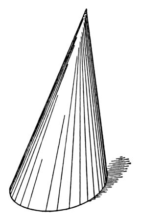 This is an Oblique Cone image. The lower part of the oblique cone is wide and the upper part is raised, vintage line drawing or engraving illustration. Stok Fotoğraf - 132971397