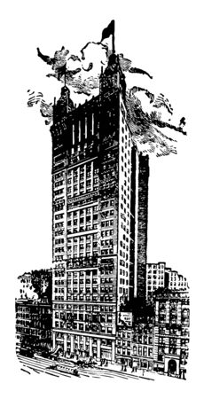 Park Row Building of New York is a steel skyscraper designed by R.H.Robertson vintage line drawing. Иллюстрация