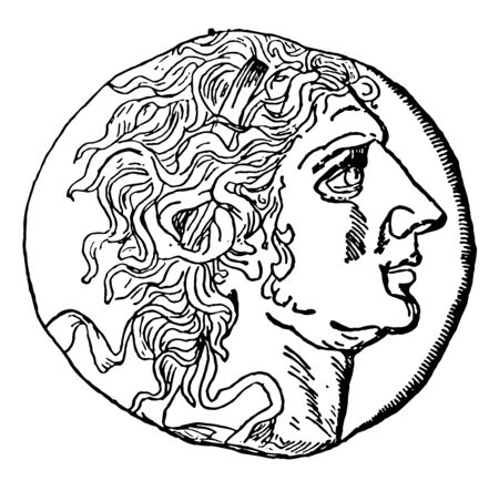 An image showing the bust of an emperor in a coin, vintage line drawing or engraving illustration.