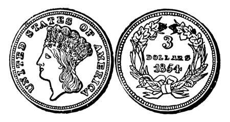 The image of three dollars ($3) of United States. This coin has two parts. One of them has a Liberty image and the second part is a picture of wreath of cereals tied with a ribbon in a bow, vintage line drawing or engraving illustration.