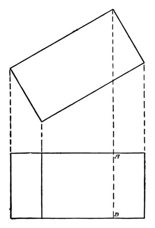 The image shows projections of a prism or rectangular block, vintage line drawing or engraving illustration.