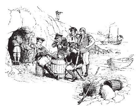 Pirates playing cards outside their cave, vintage line drawing or engraving illustration Ilustração