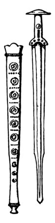 The image shows the Sword of the Bronze Age and the Pod. It is sword together with its socket or cover that is made of metal bronze, vintage line drawing or engraving illustration.