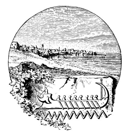 Egyptian hieroglyphic illustrated at the river shore, vintage line drawing or engraving illustration.