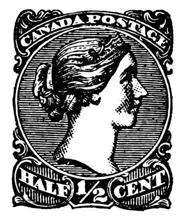 Image of queen victoria in the center along with half cent written at the base vintage line drawing. Иллюстрация