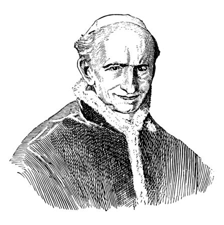 Leo XIII, 1810-1903, he was a pope from 1878 to 1903, vintage line drawing or engraving illustration