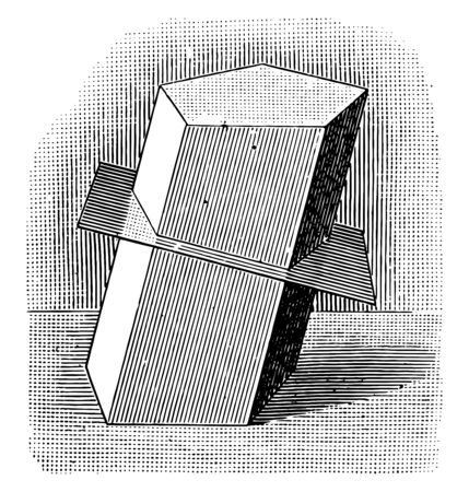 An image of a plain that intersects with the prism of the medium, vintage line drawing or engraving illustration.