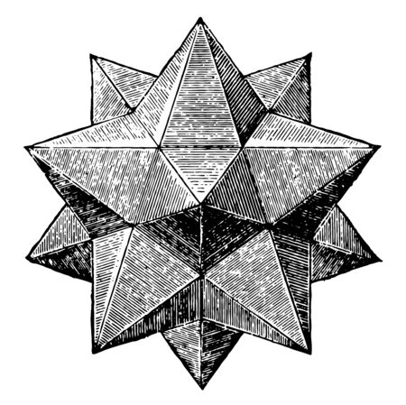 The small star-shaped dodecahedron is one of the most complex polyhedra, vintage line drawing or engraving illustration.