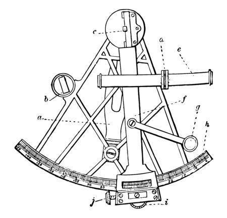 This picture describes an important means of navigation and surveys to measure the angular distance of two stars or other objects or the height of a star above the horizon, vintage line drawing or engraving illustration.