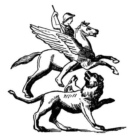 Bellérophon chevauchant Pégase et combattant avec Chimère, dessin de ligne vintage ou illustration de gravure.