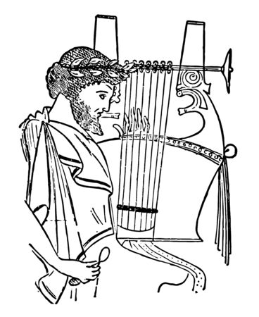 Roman Cithara is a seven stringed lyre with a deep wooden sounding box, vintage line drawing or engraving illustration.