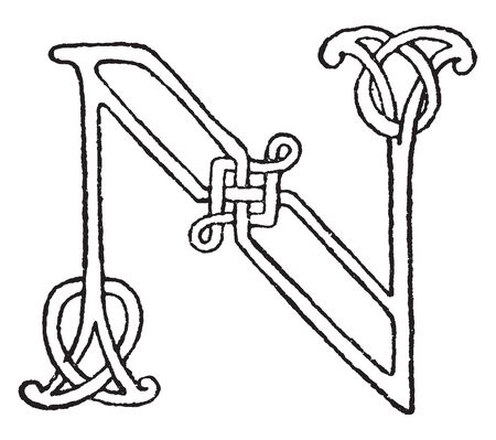 A letter N in Romanesque, vintage line drawing or engraving illustration