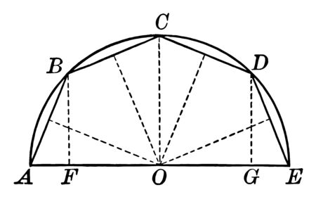 An image showing a semicircle with chords and radii drawn and labeled, vintage line drawing or engraving illustration. Ilustração