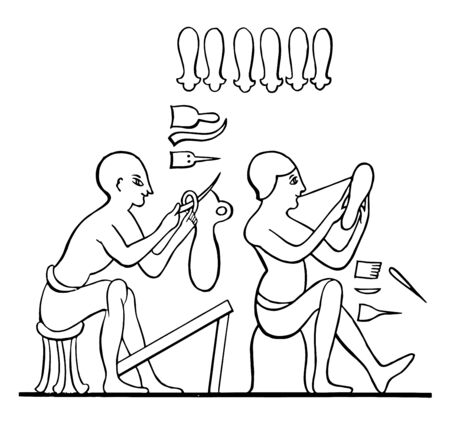Two Egyptians making Egyptian Sandals, vintage line drawing or engraving illustration.