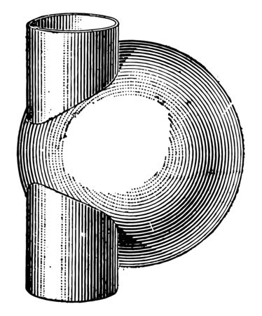 The image shows the intersection of the cylinder and the sphere. There is a fixed cylinder in the sphere. Intersection of the cylinder from the tangent to the sphere, vintage line drawing or engraving illustration.