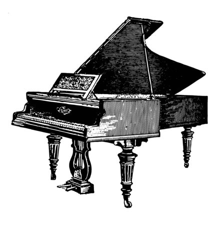 Piano is a musical instrument with a manual keyboard actuating hammers that strike wire strings, vintage line drawing or engraving illustration. Illusztráció