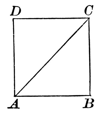 An image showing square A, B, C, D on this diagonally drawn square A, D, vintage line drawing or engraving illustration.