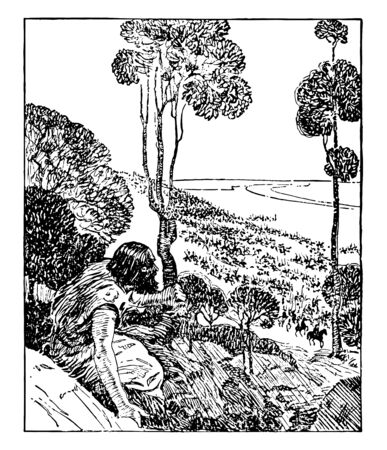 A person in the image is sitting at the base of the trees, and the battle is on the lower side, vintage line drawing or engraving illustration.