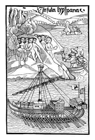 In this picture a ship is in sea & Columbus is landing in America, vintage line drawing or engraving illustration.