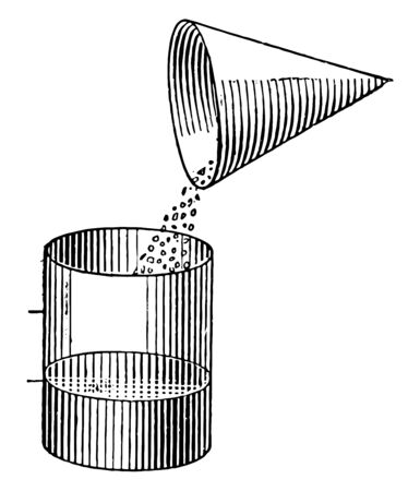 Picture showing the Comparative Volumes of a Cone and a Cylinder. Picture shows the volume or the level of something when we kept it into different shaped container, vintage line drawing or engraving illustration.