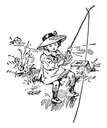 In this picture there is a young girl who is sitting on rock. She is trying to catch fish. She has put on head a hat, vintage line drawing or engraving illustration. Иллюстрация