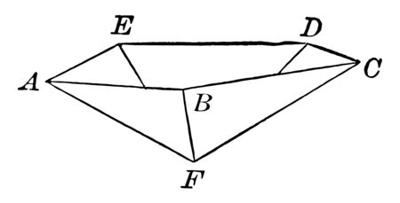 This image is of an inverted pentagonal pyramid. It's a pyramid with a regular Pentagon for its base, vintage line drawing or engraving illustration. Archivio Fotografico - 132976531