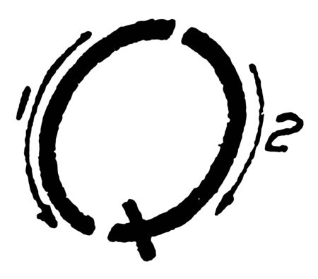 This is an image of the appropriate strokes to write the capital letter inclined Q, vintage line drawing or engraving illustration.