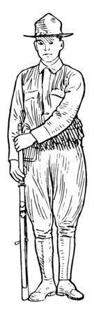 Stack Arms with the left hand at the upper band and rests the butt between his feet, vintage line drawing or engraving illustration.