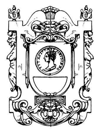 Renaissance Architectural Frame was used as the panel of stalls in San Giorgio Maggiore, vintage line drawing or engraving illustration.  イラスト・ベクター素材