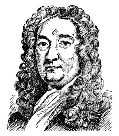 Sir Richard Blackmore, 1654-1729, he was an English poet, physician and religious writer, famous as the object of satire and an example of a dull poet, vintage line drawing or engraving illustration Ilustracja