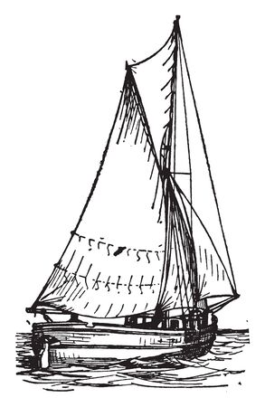 Sloop is a small fore and aft rigged vessel with one mast and fixed bowsprint, vintage line drawing or engraving illustration.