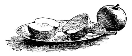 In this image there are two apples. One is cut in half on the plate, beside the knife. The other is still whole, vintage line drawing or engraving illustration.