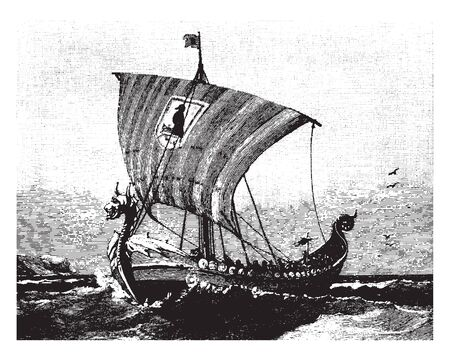 Viking Ships were marine vessels of unique design built by the Vikings during the Viking Age, vintage line drawing or engraving illustration.