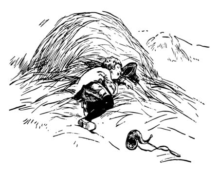 Little Boy Blue, this scene shows a boy is sleeping under the haystack, hat and horn on ground, vintage line drawing or engraving illustration Illusztráció