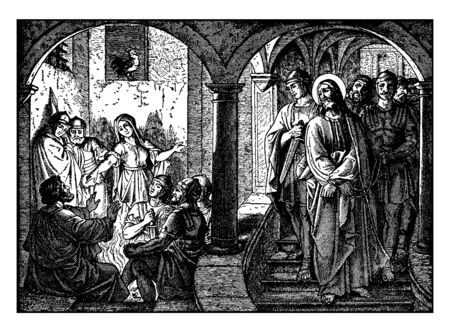 Jesus coming down with bounded hands followed by soldiers and he saw peter who sat in front of fire, vintage line drawing or engraving illustration. Illustration