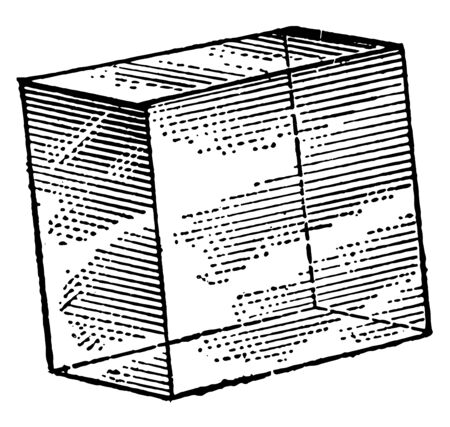 A rhombohedron is a three-dimensional figure like a cube, except that its faces are not squares but rhombuses. It is a special case of a parallelepiped where all the edges have the same length, vintage line drawing or engraving illustration.