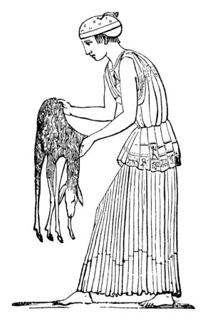 The picture shows the Priestess of Bacchus with the deer. Bacchus used to celebrate the festival called Bacchanalia and was one of the grand Roman festivals, vintage line drawing or engraving illustration.