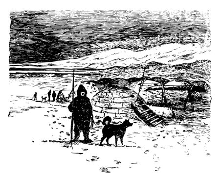 It is also called as aputiak, made from snow hence also called snow house. It is house of eskimos  vintage line drawing. Ilustração