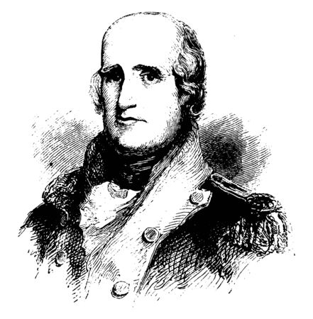 Major George Rogers Clark, 1752-1818, he was a surveyor, soldier, and military officer from Virginia, vintage line drawing or engraving illustration