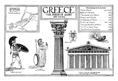 A Greece Poster of the Period of Glory, vintage line drawing or engraving illustration. Illusztráció