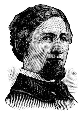 Will Carleton, 1845-1912, he was an American poet, famous for his works Fax, Rifts in the Clouds, and Cover Them Over, vintage line drawing or engraving illustration