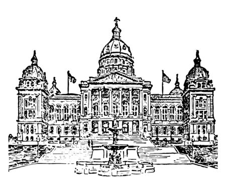 Des Moines, State Capitol is the office of governor located in Lowas capital city which was constructed in 1871-86 vintage line drawing.  イラスト・ベクター素材