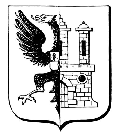 The Great Seal of Bergedorf is a German-Bergedorf Coat, vintage line drawing or engraving illustration.