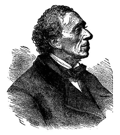 Hans Christian Andersen, 1805-1875, hij was een Deense auteur en ook schrijver van toneelstukken, romans en gedichten, beroemd om zijn sprookjes, vintage lijntekening of gravure illustratie