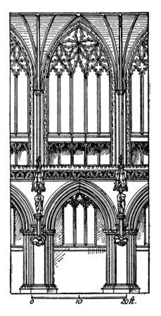 One Bay of Choir, Lichfield Cathedral is the only medieval English cathedral, as many from previous centuries, growing monastic complex, vintage line drawing or engraving illustration.